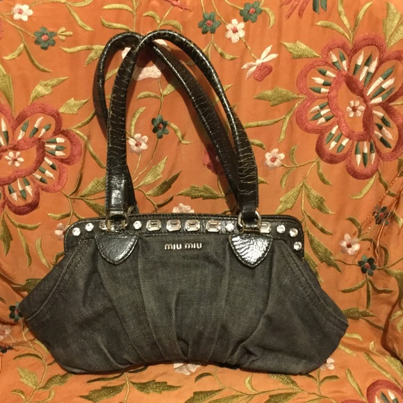 bbe7ca68d Miu Miu Bags | Distressed Leather Denim Sequined Bag | Poshmark